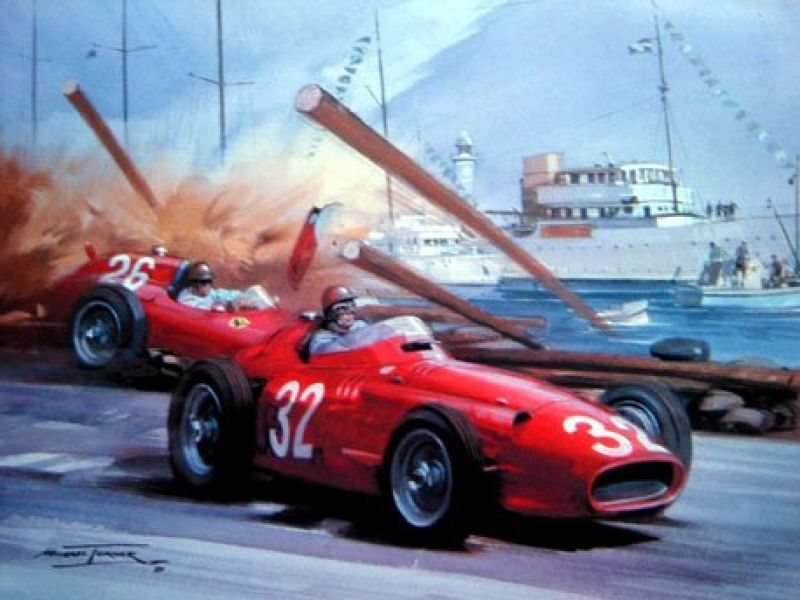 Accident Cars For Sale In Denmark: Print Turner Monaco GP 1957 Accident Of Collins & Fangio